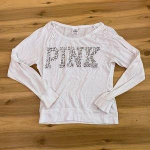 Vs pink white leopard print long sleeve top xs